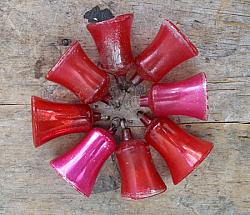 Lot of Old Red Mercury Glass Bell Ornaments