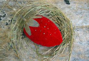 Large Red Velvet Strawberry Pincushion