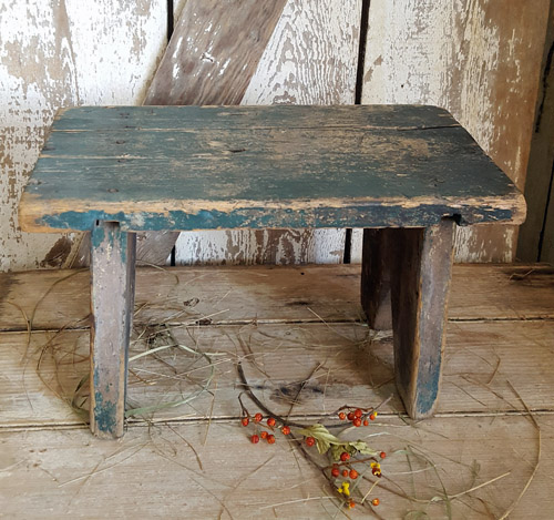 Bench with Old Blue Green Paint