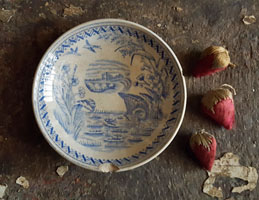 Blue Transferware Saucer - Water Hen
