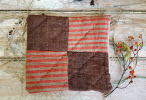 Early Red & Brown Fabric Cushion