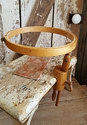 Vintage Wood Embroidery Hoop with Clamp