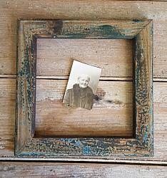 Wood Frame with Old Blue & Black Paint #3