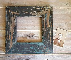 Wood Frame with Old Blue & Black Paint #4