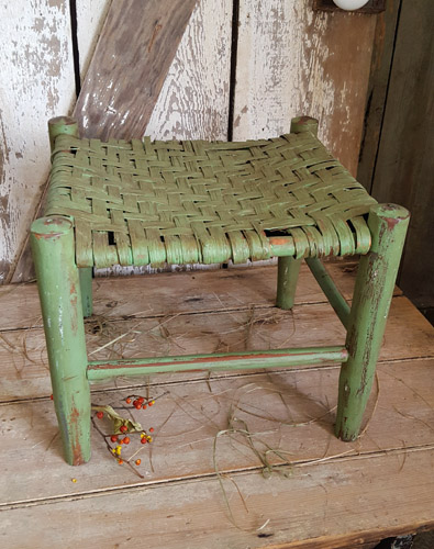 Foot Stool with Old Green Paint