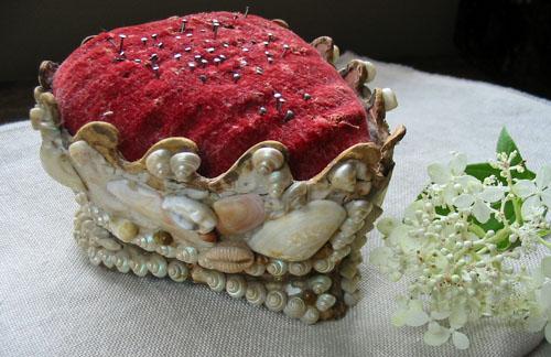 Heart Shaped Velvet & Shell Pincushion