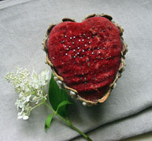 Heart Shaped Velvet & Shell Pincushion