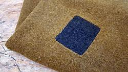 Vintage Army Green Wool with Blue Patches