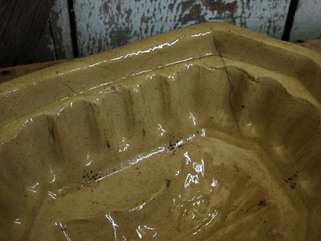 Antique Yellow Ware Pudding Mold Wheat Pattern