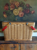 Old Picnic Basket with Red Handles