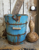 Old Bucket with Blue Paint