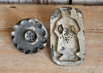 Antique Cookie Cutters Lady and Flower