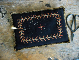 Black Wool Embroidered Pincushion