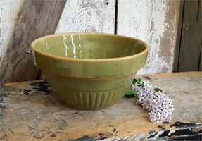 Old Green Stoneware Bowl