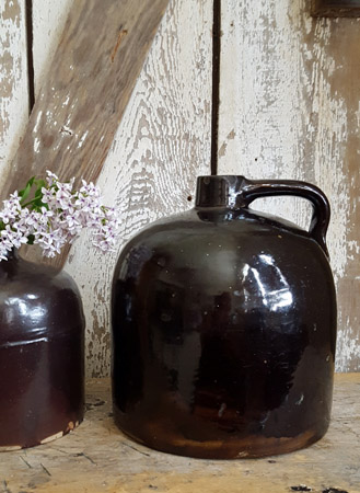Antique Brown Glazed Jug - Large