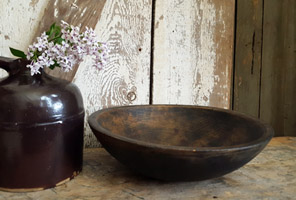 Wood Bowl with Black Paint - Large