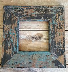 Wood Frame with Old Blue & Black Paint #1
