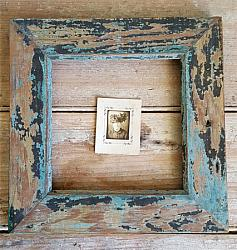 Wood Frame with Old Blue & Black Paint #2