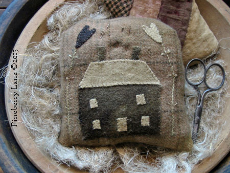 Little Brown House Needle Punch and Applique PATTERN
