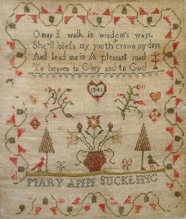 Mary Ann Suckling 1846 Sampler PATTERN