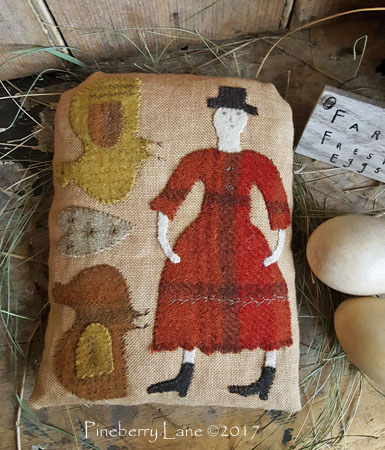 Sister's Chickens Wool Applique Pillow PATTERN