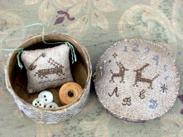 Two Hares Marking Sampler Sewing Box PATTERN