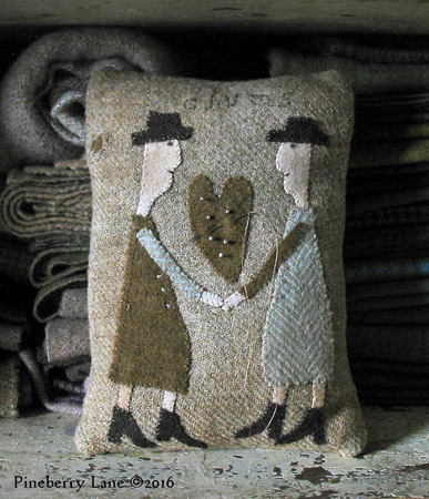 Two Old Chums Wool Applique Pillow PATTERN