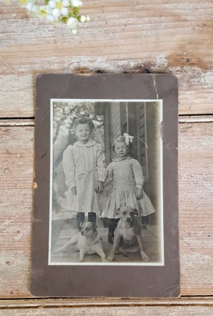 Old Photo of 2 Girls & 2 Dogs