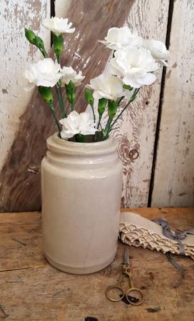 Old White Stoneware Canning Crock