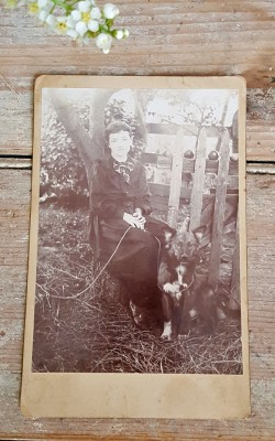 Old Cabinet Card Young Lady & Dog