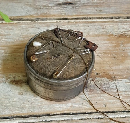 Primitive Round Tin Pincushion