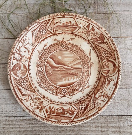 Late 19th Century Brown Transferware Plate