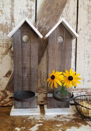 Pair of Rustic Birdhouse Sconces