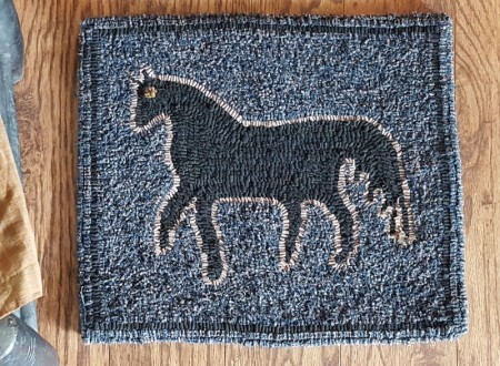 Folky Horse Hooked Rug