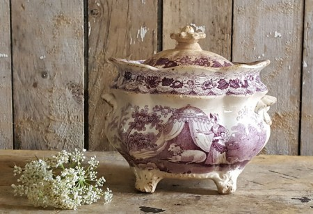 Antique English Purple Transferware Footed Sugar Bowl