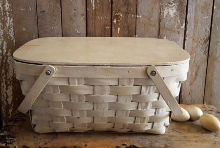 Old Picnic Basket with White Paint