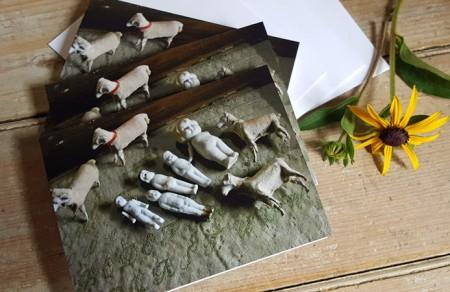 Set of 3 Notecards - Dollies & Sheep